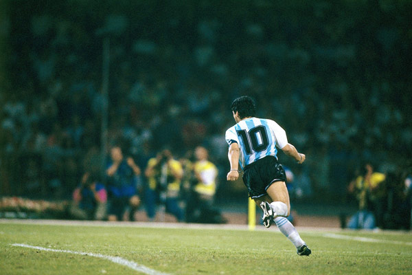 Celebrating his penalty goal against Italy – World Cup 1990