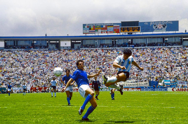 Scoring his goal against Italy World Cup 1986
