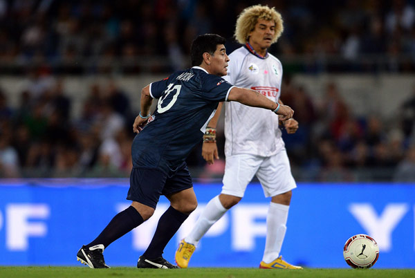 With Carlos Valderrama, Colombian legend