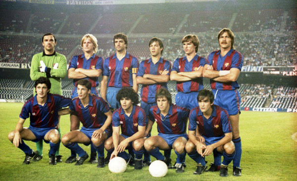 With FC Barcelona squad in 1983