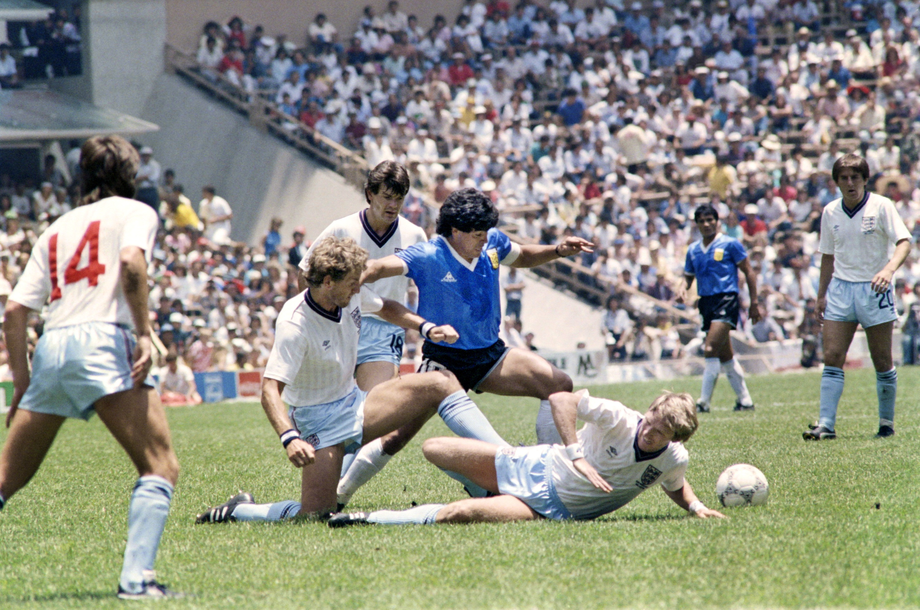 During the game against England, World Cup 1986