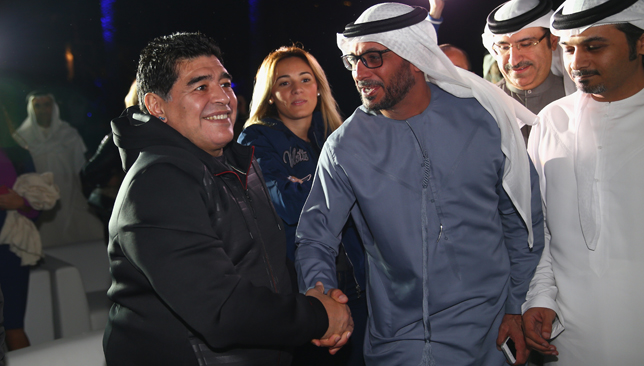 DUBAI, UNITED ARAB EMIRATES - FEBRUARY 02: Football legend Diego Maradona meets locals during the team presentations ahead of the Tour of Dubai at the Westin Hotel on February 2, 2016 in Dubai, United Arab Emirates. (Photo by Michael Steele/Getty Images)