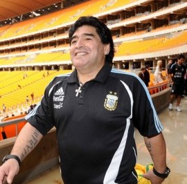 JOHANNESBURG, SOUTH AFRICA - JANUARY 21, Deago Maradona during the visit to Soccer City Stadium, which will stage the opening match and final of the 2010 FIFA World Cup, on January 21, 2010 in Johannesburg, South Africa. Photo by 2010 FIFA World Cup Organising Committee South Africa