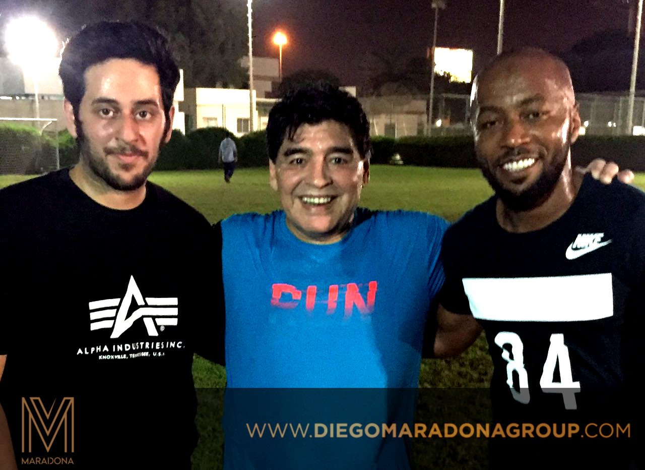 Khamis Al Rumaithy, Co Founder of Maradona Group, Diego Maradona and Ismail Matar during the event